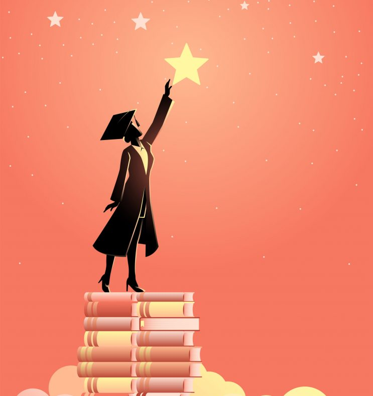 Concept illustration of a woman in graduation toga reach out for the stars by using books as the platform. Education concept.